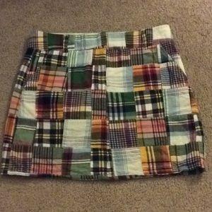 J crew patch plaid mini skirt